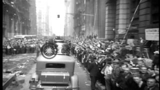New York City Police Department band plays at a ticker tape parade welcoming Amer...HD Stock Footage