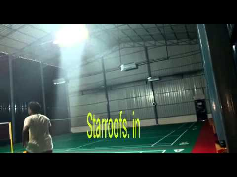 Indoor badminton court shed youtube for Indoor badminton court height