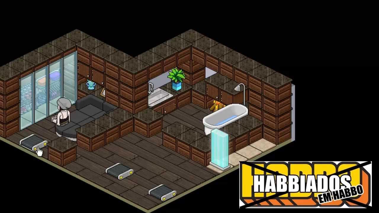 Habbo Quarto de Luxo (Construção Relâmpago)  YouTube -> Como Fazer Um Banheiro Moderno Habbo