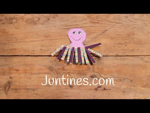 Un divertido pulpo hecho con pinzas de la ropa