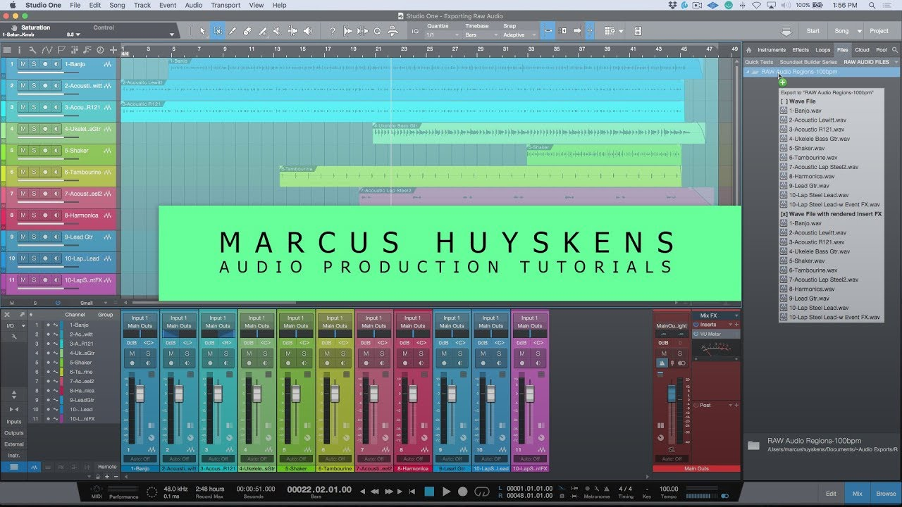 How To Export Raw Audio Files (Regions) In PreSonus Studio One