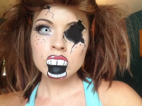 Broken Doll Face Painting - YouTube