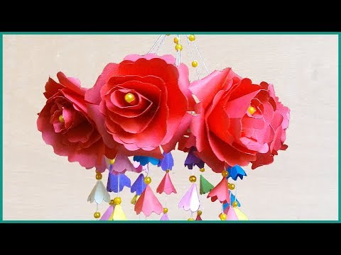 DIY Wind Chime with Beautiful Paper Roses   Wall Hanging   How to make wind chimes out of paper