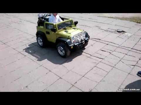Детский электромобиль Джип JJ 235 EBR-5 Jeep, зеленый - дисней.com.ua