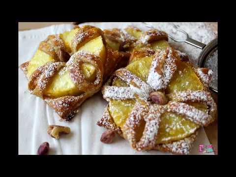 Ananaslı qat-qat xəmir. Puff pastry with pineapple.Anansli milföy hamuru.