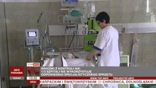 NIK: 1/3 szpitali nie używała efektywnie sprzętu nabytego za środki unijne (TVP Info, 19.06.2013)