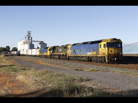 Pacific National BL34, X44 and BL32 on 9306 Tocumwal Freight at Murchison East- 9/2/18