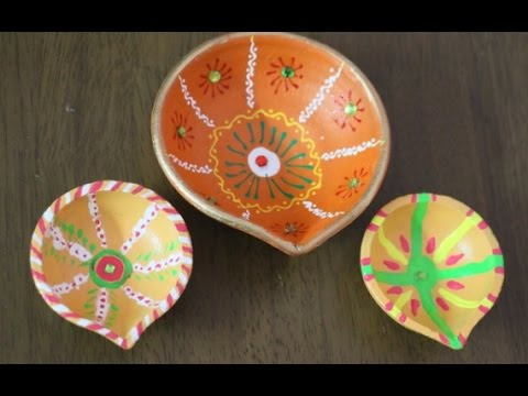 How to decorate your basic diyas learn beautiful n cute for Diya decoration youtube