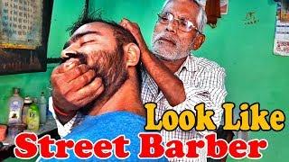 Experienced Barber Head massage with Neck crack - ASMR street salon