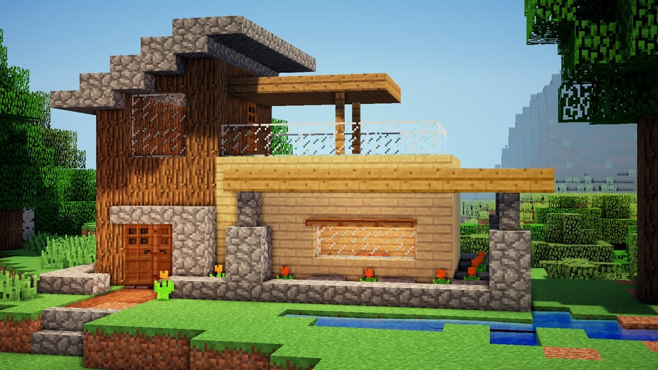 Minecraft easy wooden house tutorial how to build a for How to go about building a house