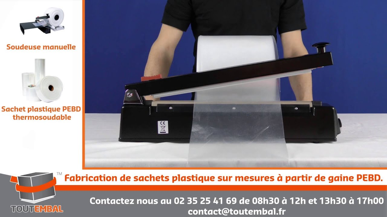 fabrication de sachets plastique sur mesures partir de gaine pebd youtube. Black Bedroom Furniture Sets. Home Design Ideas