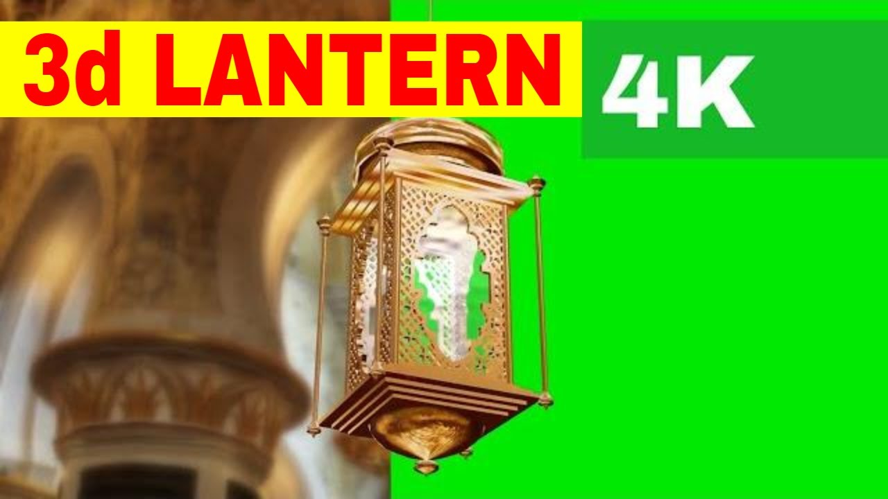 3d Single Gold Lantern Free Green Sreen 4k Footage