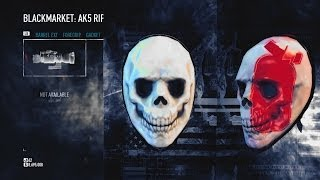 "Payday 2 LootBag Additional Content THE SKULL MASK and Pattern ""I Love Overkill"" Xbox 360 DLC"