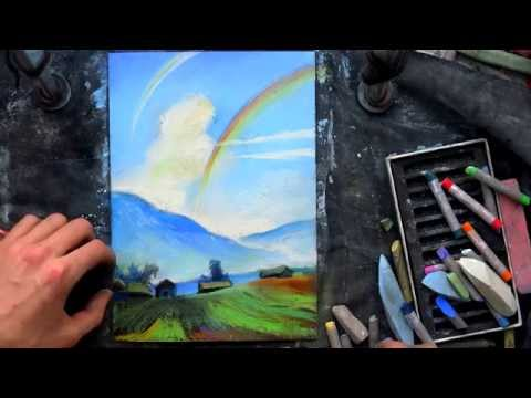 how to draw a landscape of the game Gothic 2 Night of the Raven on sandpaper pastel chalk