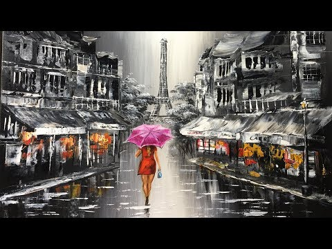Lady with red umbrella walking on the street of Paris Acryliic Painting - Full version