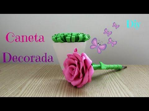 DIY Dia das mães   Caneta decorada com rosa de E.V.A