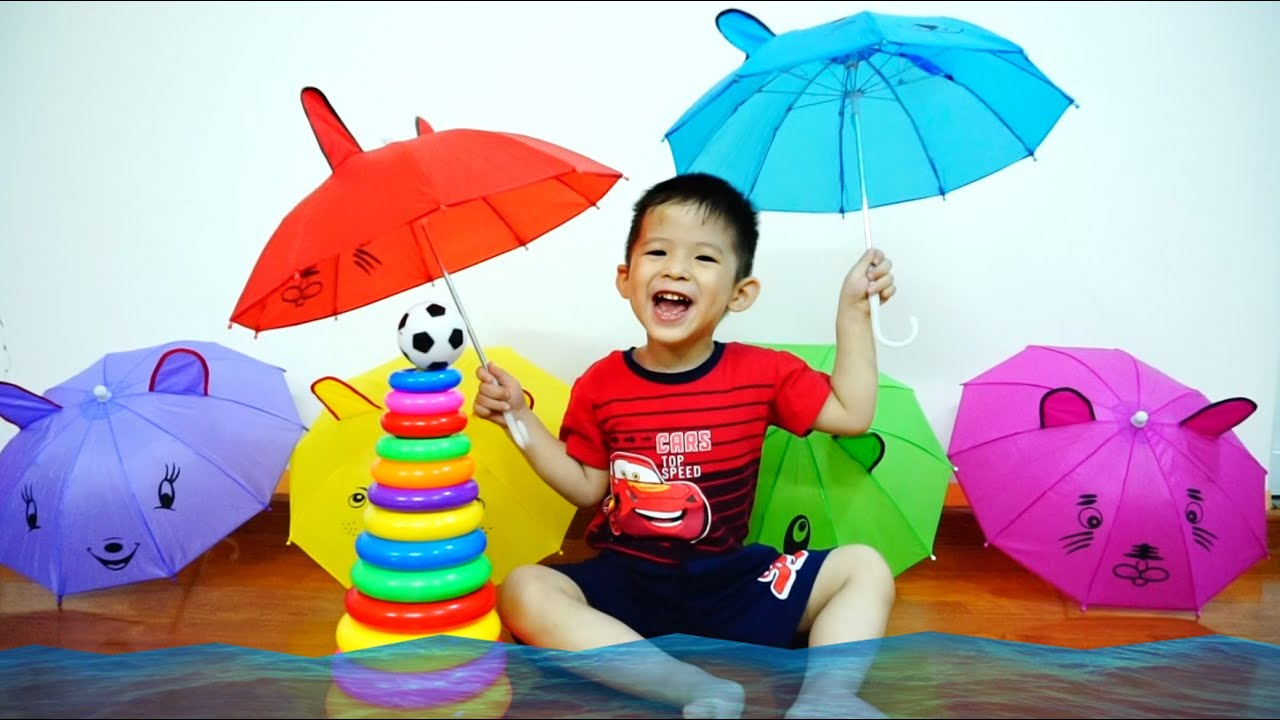 learn colors with umbrellas and balls for kids babies u0026 toddlers