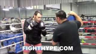 JULIO CESAR CHAVEZ JR. DISPLAYS PUNCHING POWER AS HE DRILLS BODY AND PUNCH SHIELD