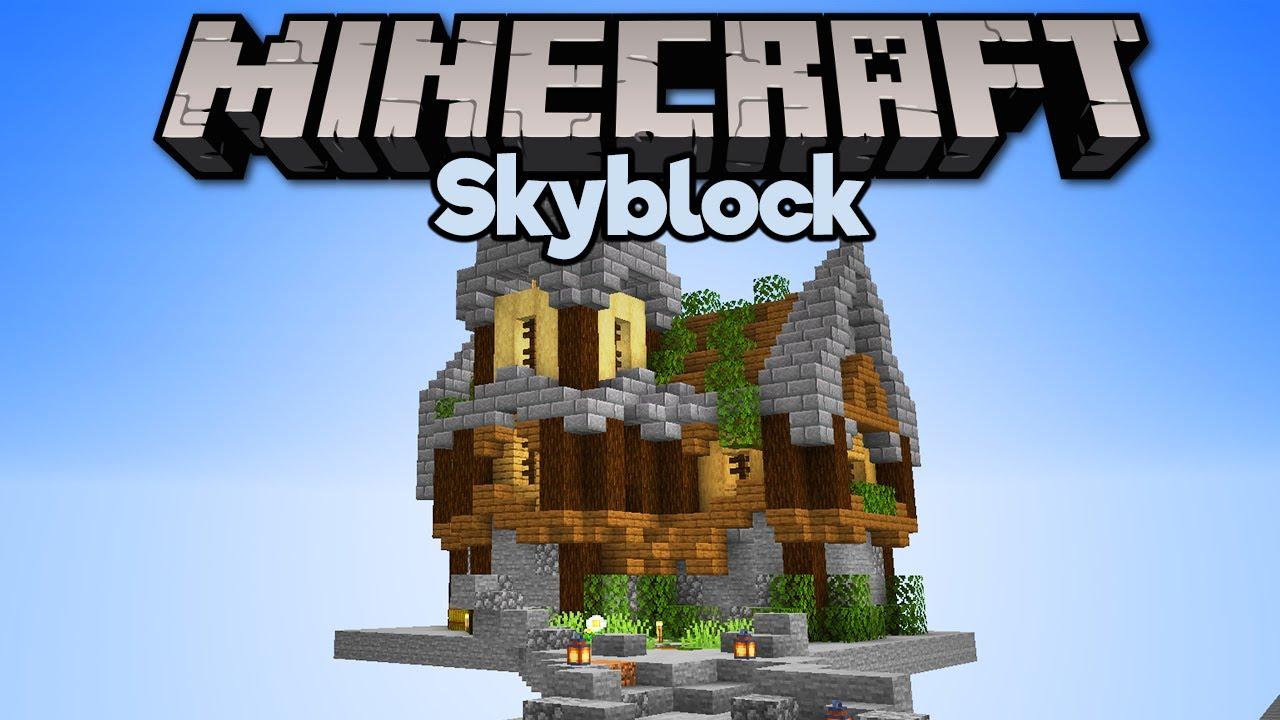 Building A House In Skyblock Minecraft 1 15 Skyblock Tutorial