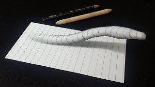 Easy! How to Draw a 3D Snake Line Paper Optical Illusion