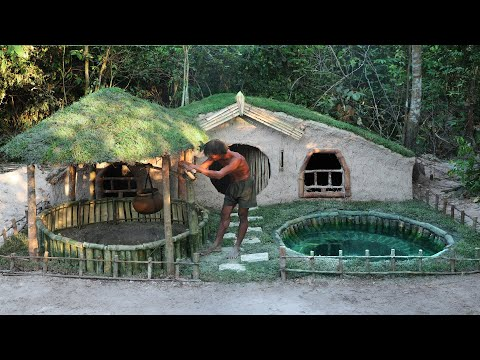 Build House & Dig Groundwater Well to Make Swimming Pool By Hand