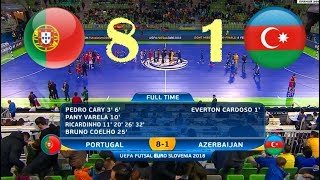 Portugal - Azerbaijan. Futsal. 1/4 Финала EURO. Highlights in HD