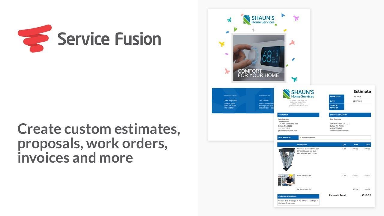 service fusion create custom estimates proposals work orders