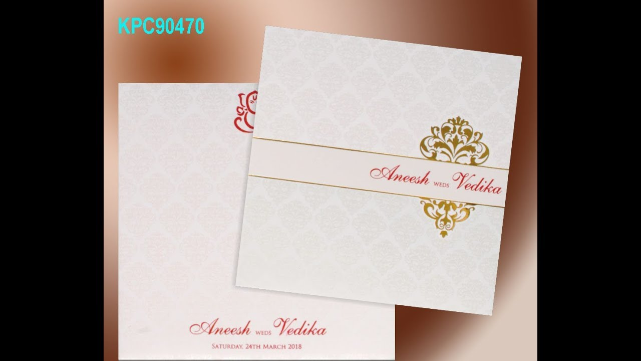 White Color With Gold Foiling Border Wedding Card - KPC90470 - YouTube