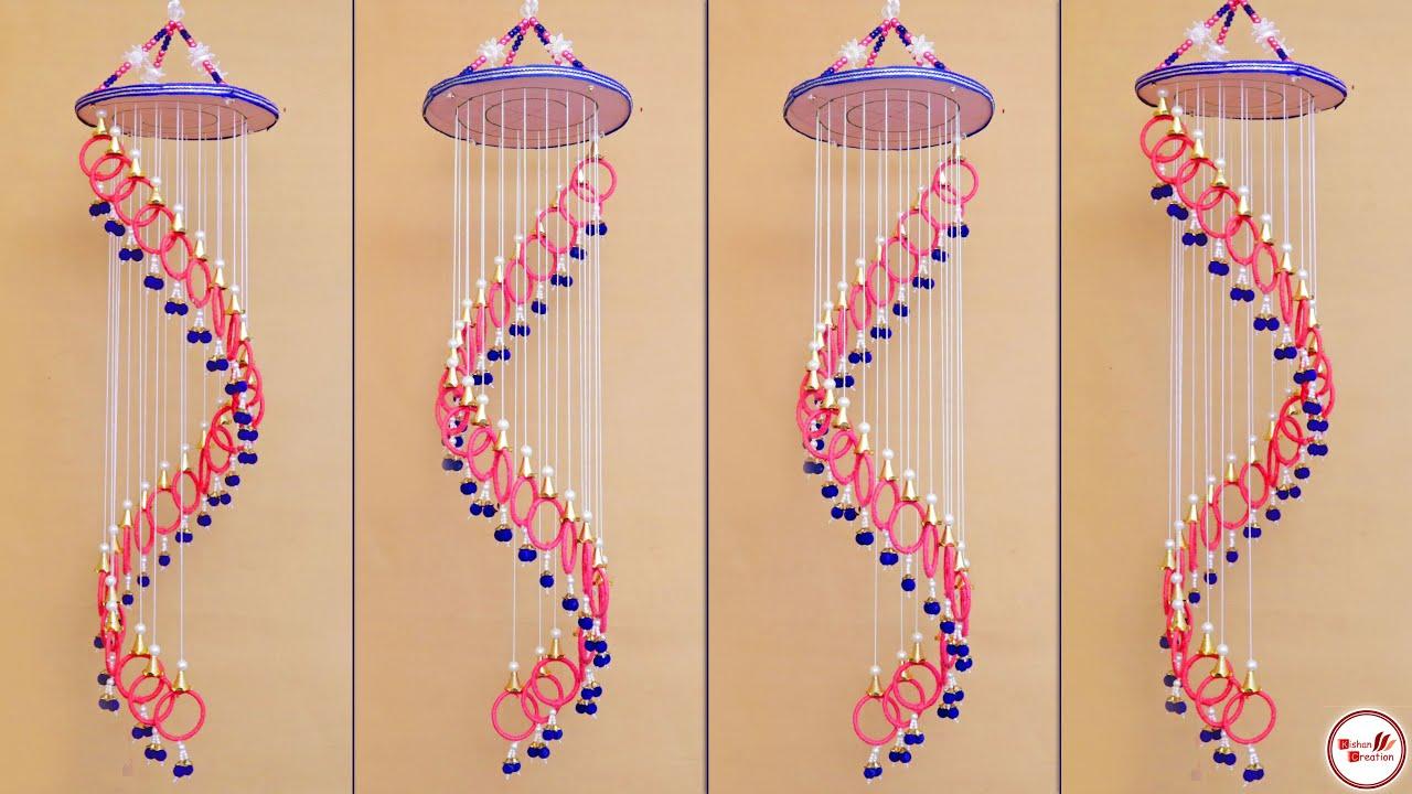 Download DIY Bangles Wind Chime Making || Woolen Craft Idea || Jhumar Making at Home