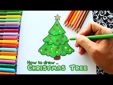 How To Draw Christmas Tree For Kids Youtube