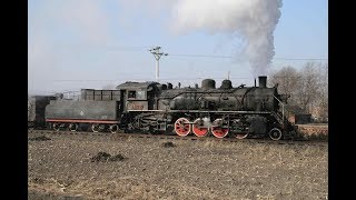 Jixi coal district: steam train with Mikado locomotives SY0590 and SY0733 in Zhengyang. DCN001852