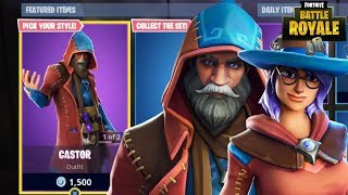NEW CASTOR & ELMIRA SKINS + NEW SPELLSLINGER PICKAXE & MAGIC WINGS GLIDER (Fortnite Battle Royale)