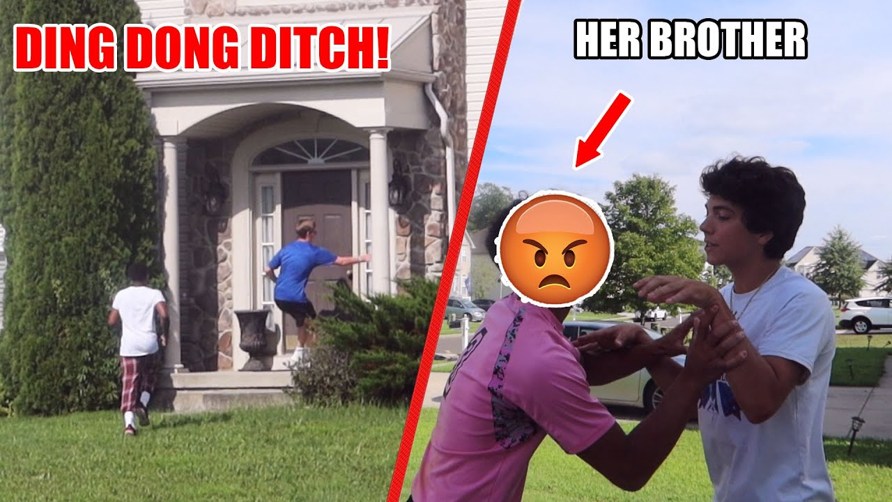 DING DONG DITCHING MY EX GIRLFRIEND! (HER BROTHER CAME OUT)