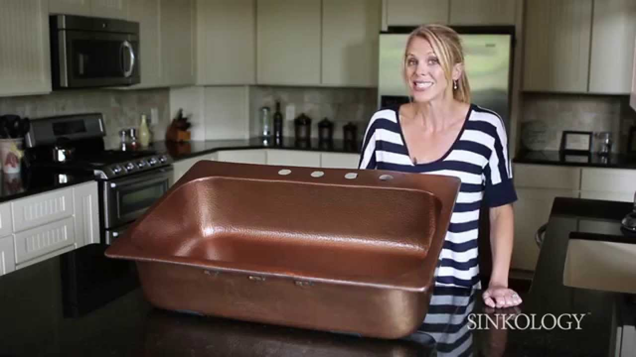 Sinkology Angelico Drop In Kitchen Copper Sink Overview   YouTube
