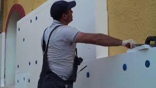 Как нужно работать с клей пеной на фасаде дома приклейка пенопласта на неровное основание