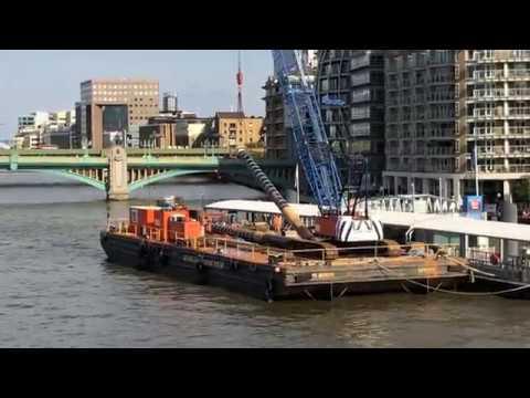 Barge crane on the river Thames