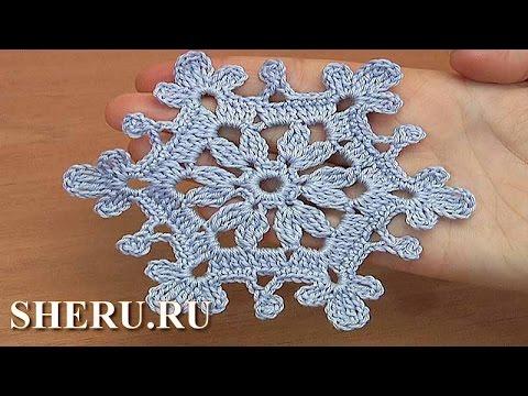 Вязание снежинки крючком видео уроки