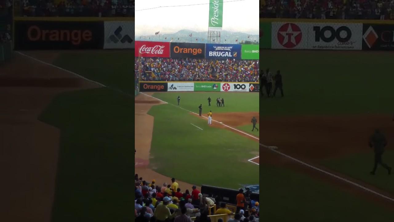 Fanático entra al terreno en la Serie Final Licey vs Águilas 2017