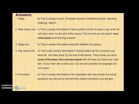 Lesson planning CELTA TESOL ELT ESL EFL - YouTube