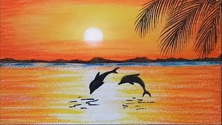 How to paint a scenery of Sunset with oil pastels color...step by step