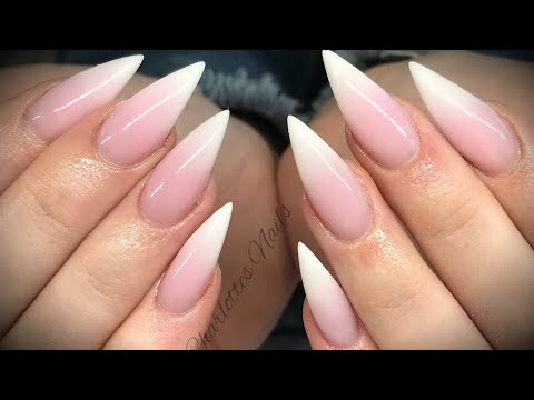 acrylic nails - pink & white ombr