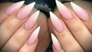 Acrylic nails - pink & white ombré