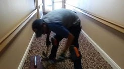 Double stick glue down carpet installation with border, Las Vegas.