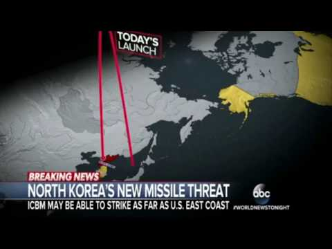 North Korea ICBM 14000 km reach USA in 45 mins