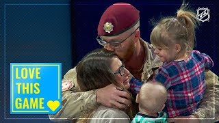 Corporal Jeremy Hillson makes surprise return on Canadian Armed Forces Appreciation Night