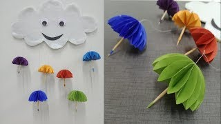 Paper umbrella wall hanging |  DIY easy paper crafts tutorial - Wall decoration ideas