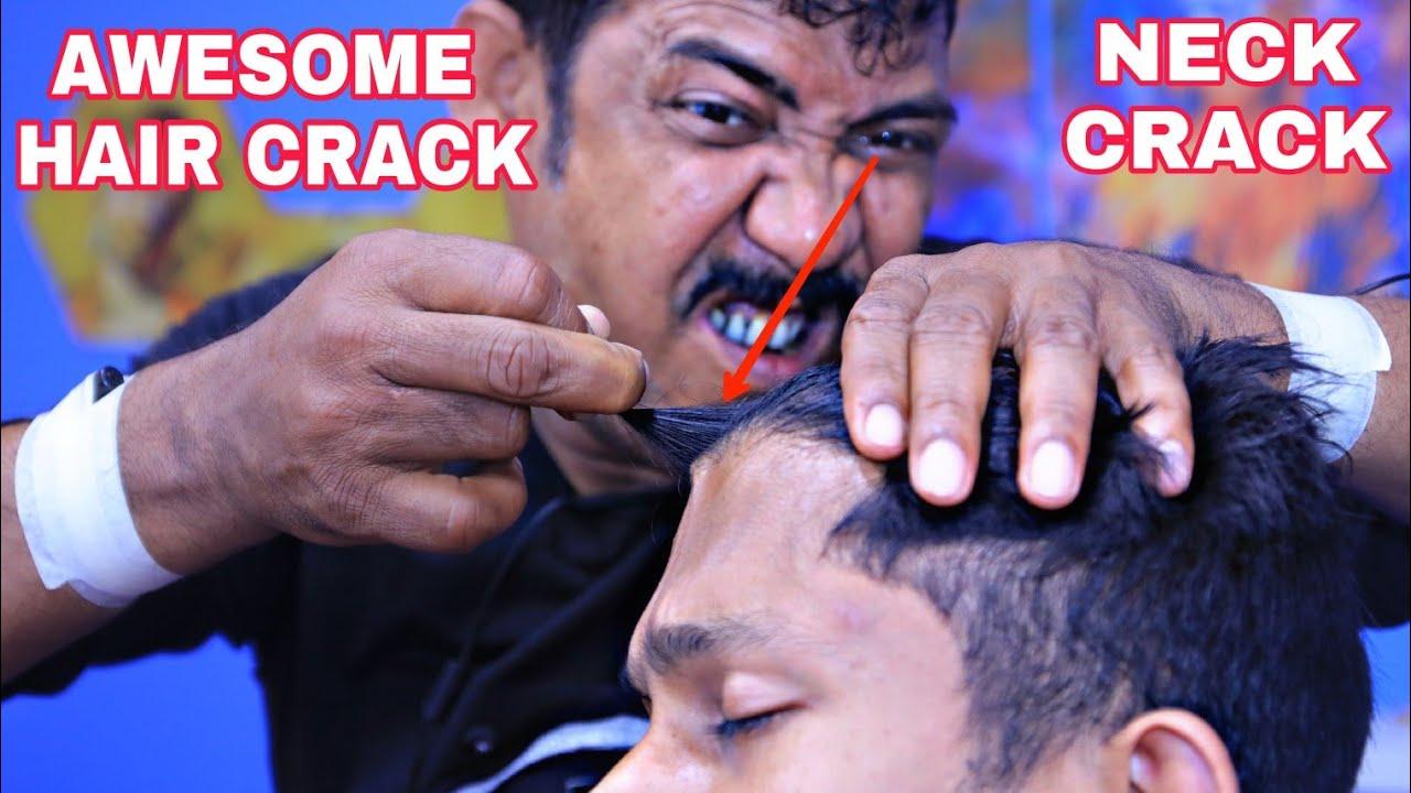 Awesome hair cracking, neck cracking, spine cracking, ear cracking ASMR head massage by asim barber