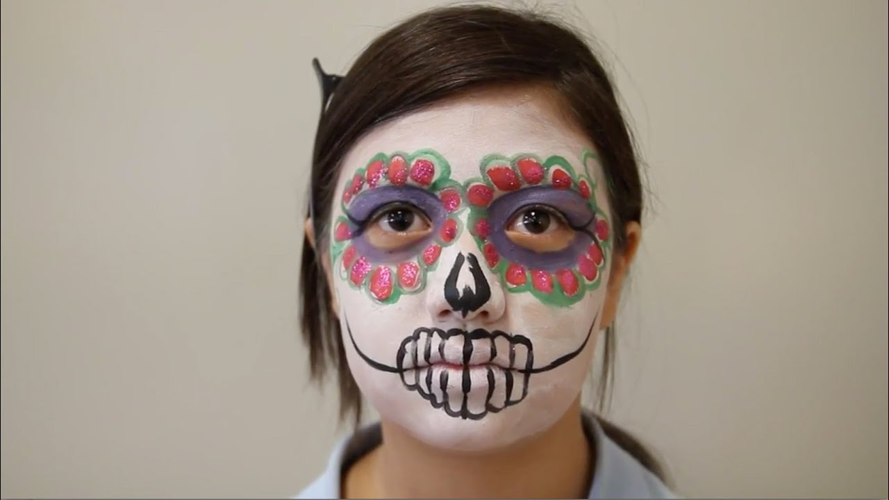 Tutorial: Easy girl sugar skull face paint - YouTube
