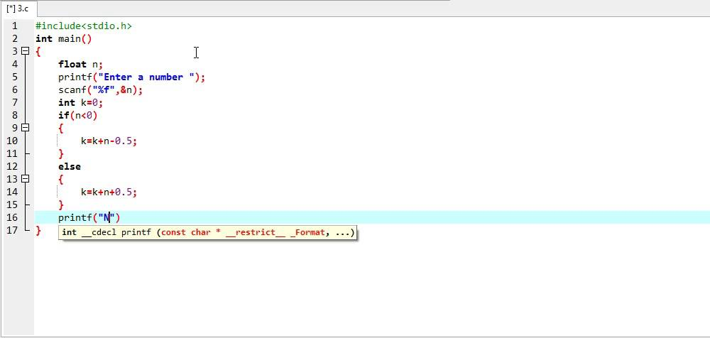 C Program to round floating point number