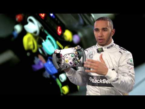F1 2013 - Mercedes AMG - Lewis Hamilton explains in detail his steering wheel